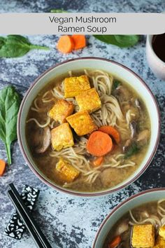 Soothing Mushroom Ramen Soup with Crispy Tofu - rich and deeply flavored Asian-style mushroom ramen soup that takes just 30 minutes. This crispy tofu is the BEST! via Veggie Inspired - Jennifer Sebestyen Tofu Recipes, Vegetarian Recipes, Healthy Recipes, Vegan Soups, Vegan Food, Vegetarian Soup, Healthy Soup, Eat Healthy, Vegetable Recipes