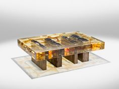 NUCLEO - WOOD FOSSIL COFFEE TABLE  year: 2013, material: epoxy resin, wood