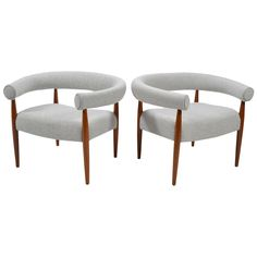 Nanna & Jørgen Ditzel Pair of Ring Chairs ca.1960   From a unique collection of antique and modern lounge chairs at https://www.1stdibs.com/furniture/seating/lounge-chairs/