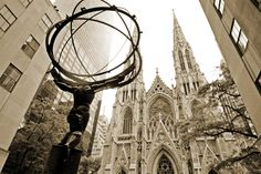 Atlas and St. Patrick's Cathedral, New York City, New York