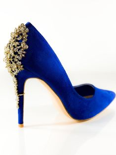 BRIDGET-- Embellished rhinestone pump- Gold and rhinestone detailing- Imported- Faux suede - Fits true to size - Heel height approx 4 inches Gold Pumps, Pumps Heels, High Heels, Cute Boots, Kinds Of Shoes, Sneaker Boots, Crazy Shoes, Beautiful Shoes, Heeled Boots