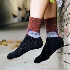 New thick wool cotton women socks autumn winter Harajuku animal owl deer cat elephant brand lovely cute christmas gitfs