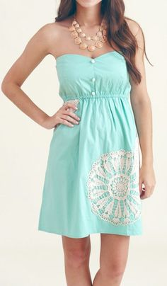 Mint lace crochet dress