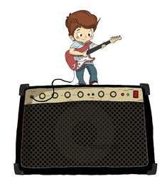 Playing the electric guitar with amplifier. Boy playing the guitar - Dibustock, Ilustraciones infantiles de Stock Boys Playing, Playing Guitar, Learning Courses, Pop Pop, Music Music, Pop Rocks, Adolescence, Little Boys, Rock And Roll