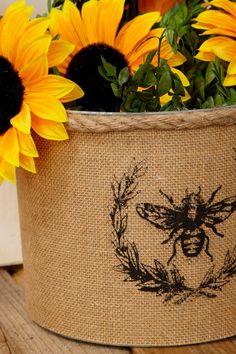 Burlap Bee Covered Galvanized Bucket 9x7in