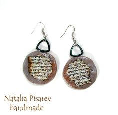 Ancient Hebrew Bible Polymer Clay Earrings by NataPi on Etsy