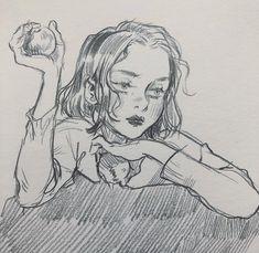 Art by Leslie hung Art Drawings Sketches, Cute Drawings, Pretty Art, Cute Art, Leslie Hung, Arte Com Grey's Anatomy, Arte Sketchbook, Art Hoe, Aesthetic Art