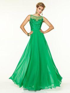 2015 Style A-line Bateau Sweep/Brush Train Chiffon Prom Dresses/Evening Dresses #QA109