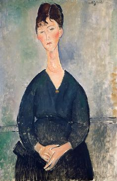 Amedeo Modigliani (It, - Cantante di caffè (Café Singer) - 1917 - oil on canvas - National Gallery of Art, Washington. Amedeo Modigliani, Modigliani Paintings, Pierre Auguste Renoir, Edouard Manet, Paul Cézanne, Camille Pissarro, Paul Gauguin, Famous Artists, Great Artists