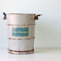 Vintage Ice Cream Freezer Bucket. $38.00, via Etsy.