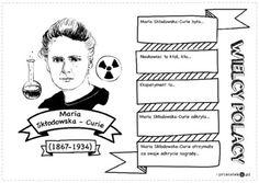 Wielcy Polacy – Maria Skłodowska-Curie - Printoteka.pl Ciri, Art History, Back To School, Homeschool, Education, T Shirt, Historia, Speech Language Therapy, Europe