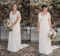 2015 Ivory Bohemian Wedding Dresses Plus Size Maternity Lace Short Sleeves Cheap Scoop Open Back Country Spring Wedding Bridal Wedding Gowns Online with $114.46/Piece on Sweet-life's Store | DHgate.com
