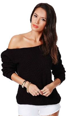 Solid Knitted Pullover Off Shoulder Loose Short Sweater