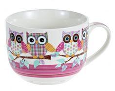 Jumbobecher Eule, Ast, pink - Kaffeebecher im XXL-Format mit witzigem Eulendesign.Material: Keramik