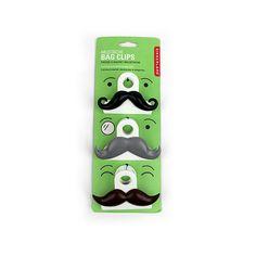 Kikkerland Mustache Bag Clips, $4.00 #birchbox