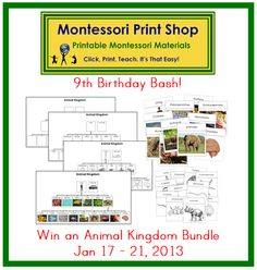 Montessori Print Shop 9th Birthday Bash (day 1) - Win an Animal Kingdom Bundle (Jan 17 - 21, 2013)