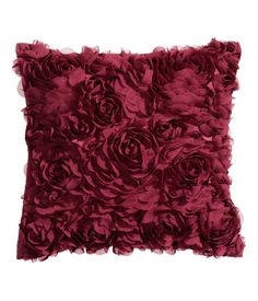 Satin cushion cover with decorative chiffon flowers | H&M HOME