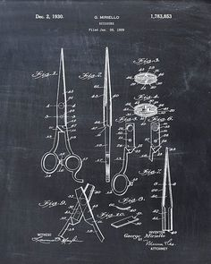 Salon Scissors Patent Print Hair Cutting Blueprint Hairdressing Patent Salon Wall Art Salon Poster H Album Design, Poster S, Poster Prints, Art Posters, Art Decor, Decoration, Barber Shop Decor, Chalkboard Decor, Patent Drawing