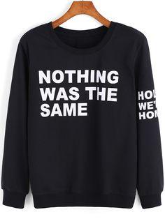 Black Round Neck Letters Print Sweatshirt 14.99