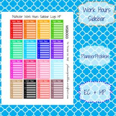 Multicolor Work Hour Sidebars! | Free Printable Planner Stickers from Plannerproblem.wordpress.com