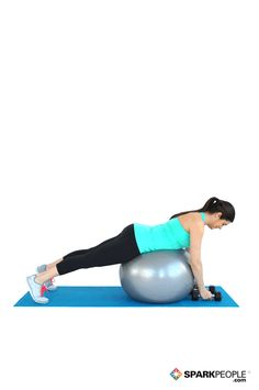 Dumbbell Reverse Flys Lying on Ball Exercise Demo - Upper Back Gentle Workout, Spark People, Health Pictures, Walking Exercise, Get Healthy, Healthy Habits, Back And Biceps, Dumbbell Workout, Easy Workouts