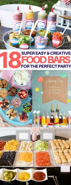 Wow I love food bars and these are the most creative ones Ive seen graduation party food ideas wedding food ideas party food ideas bridal shower food baby shower food kid. Party Food Bars, Snacks Für Party, Party Appetizers, Party Food Themes, Party Drinks, Bbq Drinks, Fruit Party, Lunch Party Ideas, Kids Party Meals