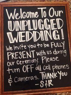 Unplugged wedding no cell phones no cameras