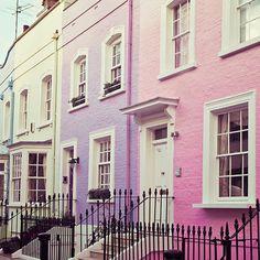 London Print - Chelsea Girls - viajes fotografía, casas de colores Pastel, primavera, rosa, púrpura, Casa Decor, Street, fotografía de viaje...
