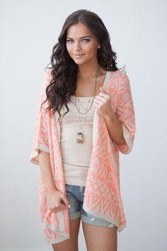 Magnolia Boutique Indianapolis - Tribal Print Knit Kimono - Coral/Taupe, $44.00 (http://www.indiefashionboutique.com/tribal-print-knit-kimono-coral-taupe/)
