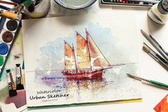 Watercolor Urban Sketcher PS Action by SlideSalad on @creativemarket