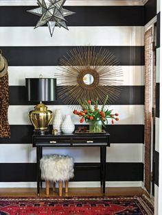 Dayka Robinson Designs Black & White Stripe Entry Home Tour Southern Lady Southern Home magazine 2015