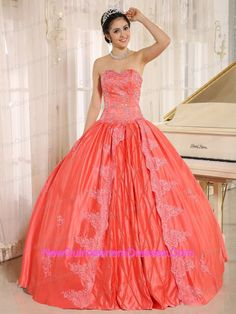 coral red sweetheart dress