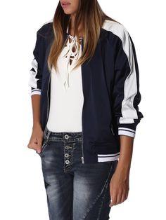 #AdoreWe Q2 Blue Casual Pockets Contrast Stripe Bomber Jacket - AdoreWe.com