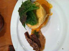 Fete d' Été-Columbus-Till Dynamic Fare-Goat Cheese Souffle with Home grown Greens & a Little Lamb