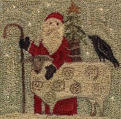 """Primitive Punchneedle Pattern - Christmas in The Country Santa with Sheep - 5 x 5"""" Country Stitches"""