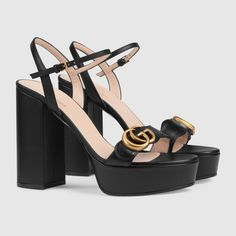 Gucci Platform sandal with Double G Strappy Sandals Heels, Black Sandals, Shoes Heels, Sandals Outfit, Gucci Gifts, Leather High Heels, Black Leather, Gucci Shoes, Fashion Shoes