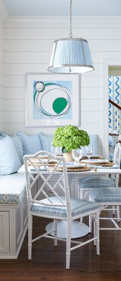 Soft & elegant shades of blue in this kitchen designed by Sarah Bartholomew. Dining Bench With Back, Dining Room Blue, Colonial Kitchen, Coastal Living, Coastal Style, Kitchen Lighting Fixtures, Nautical Home, Kitchen Nook, Decoration