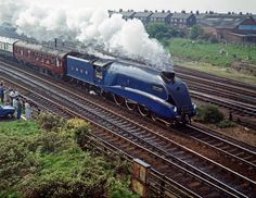 """LNER (London & North Eastern Railway) Class A4 #4468 """"Mallard"""", a 4-6-2 """"Pacific""""-type locomotive built by the Doncaster Locomotive Works in 1938.  Famous for holding the world speed record for steam locomotives (125.88 mph), """"Mallard"""" was restored to operating condition in the 1980s, but has since remained on display at the National Railway Museum."""