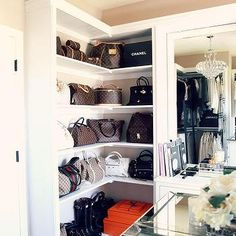 Walk in Closet with Built in Bag Shelves