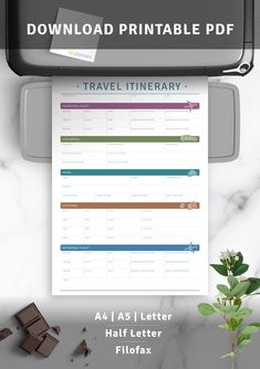 Download Printable Travel Itinerary PDF Travel Itinerary Template, By Plane, Car Rental, Filofax, Trip Planning, Hotels, Letter, Pdf, Printable