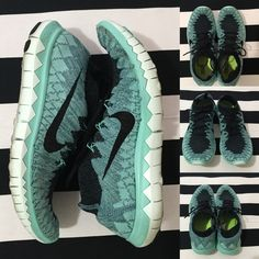 Nike Free fly knit 3.0 women's sz 8.5  Nike Free fly knit 3.0 women's sz 8.5  great used condition, only worn a few times, color is teal and blue knit with a black swoosh and black laces See other Nike and athletic listings in my closet Nike Shoes Athletic Shoes