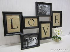 Could do this with dollar store frames and burlap