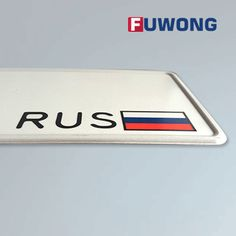 Russia car number plate, RUS flag, reflective film, aluminum