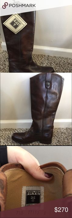 FRYE women's Melissa button riding boots size 7.5 Brand new authentic FRYE women's Melissa button riding boots in dark brown size 7.5, still has tag on. Originally bought for $368 before tax (almost $400 after tax). Asking $270 for them. Never been worn, selling because I have a different pair so decided I didn't need this pair. Also included in pictures are two pictures from the FRYE website to show the original cost and a better picture of the boots. Located in Overland Park/Olathe KS…