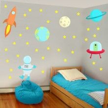 Aliens, UFO, Rocket, Spaceman and Stars Wall Decal Kit