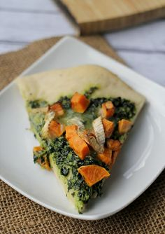 Sweet potato, kale pesto, & brie pizza by eatswellwithothers, via Flickr