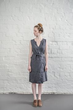 Washed and soft black linen wrap dress for simple and casual look.This black is warm black / charcoal with a little more deepest blue shade than it appears in the photo.   Custom length is available with no extra charge. Please let us know your wishes!  Our items are made of washed linen fabric, specially woven for us by our local linen manufacturers. The procedure of making these items takes time and effort, cause the items are double washed once they are made. Only after such process we…