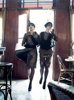 Paris, je t'aime - Vogue US - Coco Rocha, Agyness Deyn, Sasha Pivovarova, Guinevere van Seenus, Caroline Trentini, Gemma Ward - ph Steven Meisel