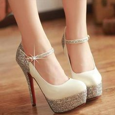 Pink sparkly and Wedding shoes