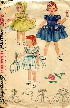 Sewing Patterns Vintage Out of Print Retro,Over 7000 ,Vogue Simplicity McCall's - Simplicity 4055 Retro 1950's Girls Dress Bonnet Petticoat No Transfer